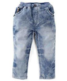 Olio Kids Stone Wash Soft Waistband Full Length Jeans - Dark Blue