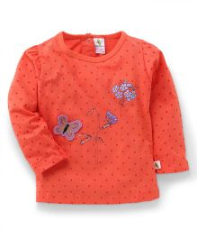 Cucumber Full Sleeves Dotted Top - Orange