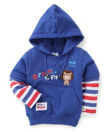 Cucumber Full Sleeves Hoodie Lion Patch - Royal Blue