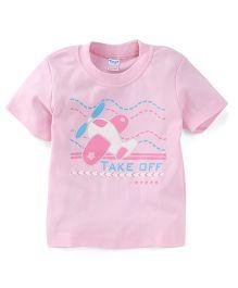 Tango Half Seeves Take Off Print T-Shirt - Pink