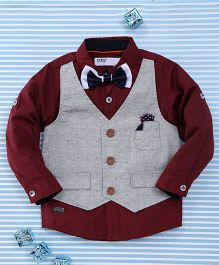 Gigilily Smart Shirt With Bow Tie & Jacket - Maroon & Grey