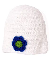 Mayra Knits Simple Cap - White & Blue
