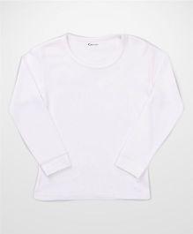 Kanvin White Full Sleeves Self Stripe Design Thermal Vest - Off White