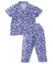 Teddy Half Sleeves Night Suit Rugby Ball Print - Blue