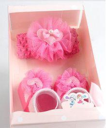 Funky Baby Headband & Socks Set - Baby Pink