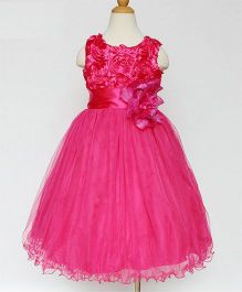 Funky Baby A-Line Rosette Tulle Dress - Pink