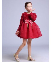 Funky Baby Floral Self Patterned Dress - Wine Red