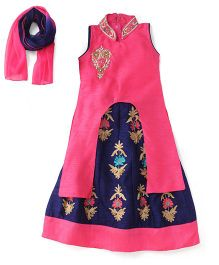 Babyhug Sleeveless Kurti Lehenga With Dupatta - Pink Navy