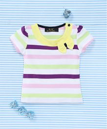 Water Melon Striped T-Shirt With Bow Applique - Multicolour