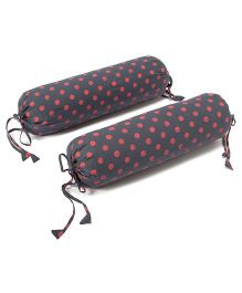 The Baby Atelier Dot Baby Bolster Cover Set With Fillers - Grey & Salmon