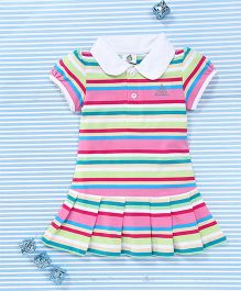 Water Melon Stripe Print Dress - Pink & Multicolour