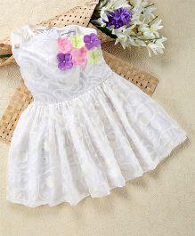 Shu Sam & Smith Off Shoulder Flower Applique Dress - White