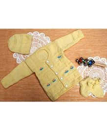 Little Bunnies Flower Embroidery Design Sweater With Cap & Socks Set - Cream yellow