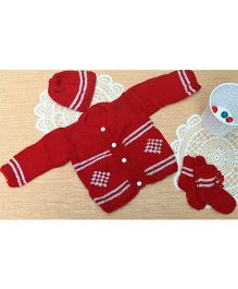 Little Bunnies Digital Design Sweater With Cap & Socks Set - Red