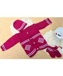 Little Bunnies Digital Square Design Sweater With Cap & Socks Set - Fuschia Pink