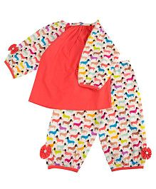 Cuddle Up Colourful Doggie Night Suit For Girls - Multicolour