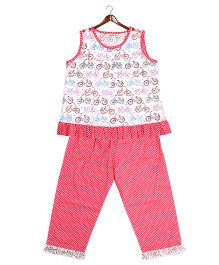 Cuddle Up Cycle Print Night Suit - White & Peach