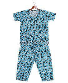 Cuddle Up Pandas Print Night Suit - Blue