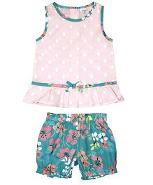 ShopperTree Sleeveless Top With Shorts Set Floral Print - Pink Green