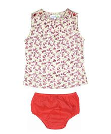 ShopperTree Sleeveless Top With Panties Set Floral Print - White Red