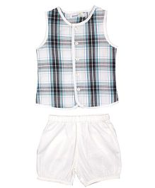 ShopperTree Sleeveless Shirt And Shorts Set Checks Print - White Blue
