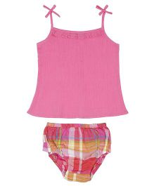ShopperTree Singlet Top With Panties Set Checks Print - White Pink