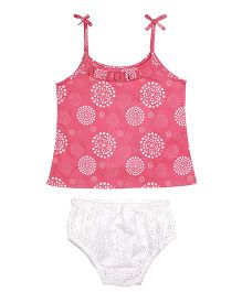 ShopperTree Singlet Top With Panties Set Abstract Print - White Pink