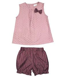 ShopperTree Sleeveless Top With Bloomers Set Hakoba Design - Pink Purple