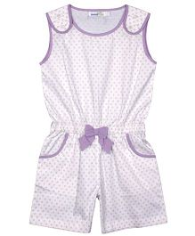 ShopperTree Sleeveless Jumpsuit Circles Print - White Purple