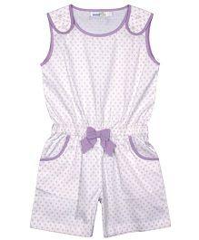 ShopperTree Sleeveless Jumpsuit Circles Print - White Purple