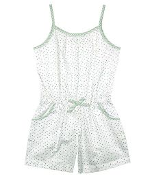 ShopperTree Singlet Jumpsuit Hearts Print - White Green