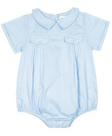 ShopperTree Half Sleeves Onesie With Bow Applique - Blue