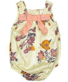 ShopperTree Sleeveless Onesie Floral Print - Yellow