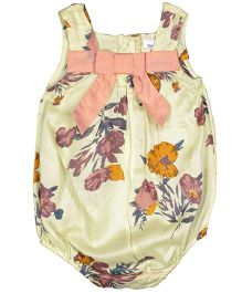 ShopperTree Sleeveless Onesie Floral Print - Yellow