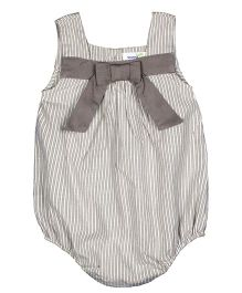 ShopperTree Sleeveless Onesie With Bow Applique - Grey
