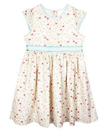 ShopperTree Sleeveless Frock Floral Print - White