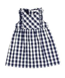 ShopperTree Sleeveless Frock Checks Print - White Blue