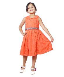 ShopperTree Sleeveless Frock Floral Lace Design - Orange