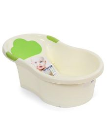 Baby Printed Bath Tub With Drainer - Green Cream
