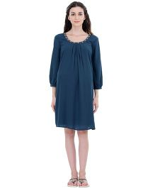 Oxolloxo Long Sleeves Maternity Party Dress - Teal Blue