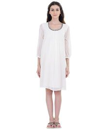 Oxolloxo Long Sleeves Maternity Party Dress - White