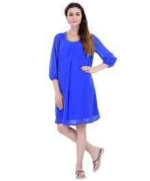 Oxolloxo Long Sleeves Maternity Party Dress - Blue
