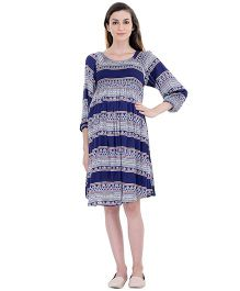 Oxolloxo Long Sleeves A-Line Maternity Dress Abstract Print - Blue