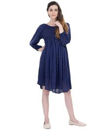 Oxolloxo Long Sleeves Maternity A-Line Dress - Navy Blue