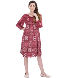 Oxolloxo Long Sleeves Maternity Dress With Lining - Red