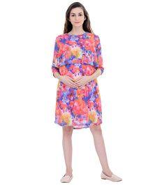 Oxolloxo Three Fourth Sleeves Maternity Multi Shift Dress - Multicolor