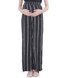 Oxolloxo Maternity Palazzo Pants Stripes Print - Black