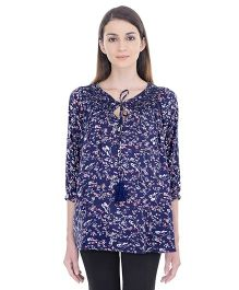 Oxolloxo Long Sleeves Maternity Floral Tassel Top - Blue