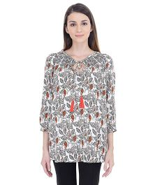Oxolloxo Long Sleeves Maternity Tassel Top - White & Multicolor