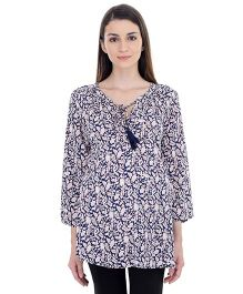 Oxolloxo Long Sleeves Maternity Tie-Up Tunic - Blue & Multicolor